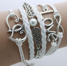Pria gelang kulit Jangkar Infinity gelang untuk wanita Sayap Owl Bohemian Perhiasan wrap snaps gelang