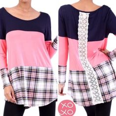 "HP 3/18COLOR BLOCK TOP w/PLAID & LACE DETAIL In pink and navy, this darling top has a plaid bottom and a pretty lace strip down the middle of the back. 95% rayon/5% spandex.                          ♦️2X: bust 46"" waist 44"" hips 51""                               Front length: 34""  back length: 35.5"" Tops"