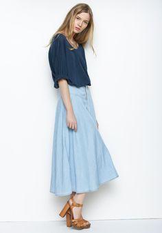 Graham and Spencer Denim Midi Skirt- the perfect uniform
