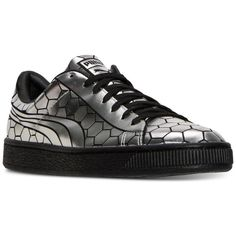 Puma Men's Basket Classic Metallic Casual Sneakers from Finish Line ($90) ❤ liked on Polyvore featuring men's fashion, men's shoes, men's sneakers, black, puma mens shoes, mens black shoes, mens shoes, mens metallic gold sneakers and vegan mens shoes