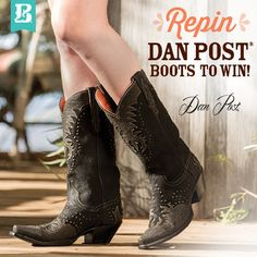 "Pinterest Contest! Enter for a chance to WIN a pair of Dan Post Boot Company Boots! Create a Pinterest Board called, ""Repin Dan Post Boots to Win!"" Pin no less than 10 of your favorite Dan Post Boots from www.Bootbarn.com. Tag each pin ‪#‎danpostfavorites‬. For 3 of your pins, tell us why you like the selected Dan Post Boots in the comments section. See Boot Barn's Facebook page to enter!"
