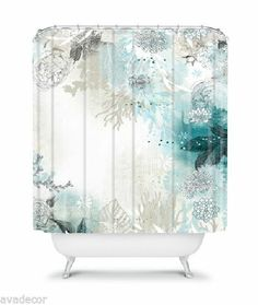 Add a dash of fun to your bathroom with the colorful Deny Designs Iveta Abolina Seafoam Shower Curtain. This artistic and inventive curtain features an elegant underwater tableau of plants, coral, and more. Extra Long Shower Curtain, Long Shower Curtains, Bathroom Shower Curtains, Flamingo Shower Curtain, Contemporary Shower, Shower Liner, Small Bathroom, Bathroom Ideas, Seaside Bathroom