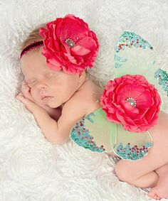 Loving this Nest Of Many Colors Hot Pink & Green Summer Flowers Glitter Headband & Wing Set on