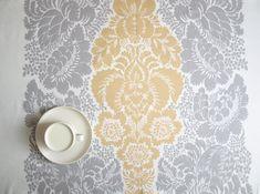 Marimekko Tablecloth white grey golden yellow Ananas Modern Scandinavian decor , runner , napkins , pillow , curtain available, great GIFT on Etsy, 21,26€