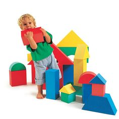 Soft Giant Foam Blocks - Bend them, twist them, stack them, this durable set of foam blocks come in assorted shapes in primary colours.