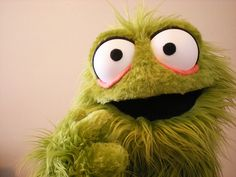 Green Furry Monster Puppet by blankpuppets