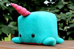 Narwhal Cube Plush by FluffyButtons on Etsy, $28.00