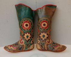Old Handmade Leather Boots Kyrgyz Boots Tribal Boots by CICEM, $1563.00