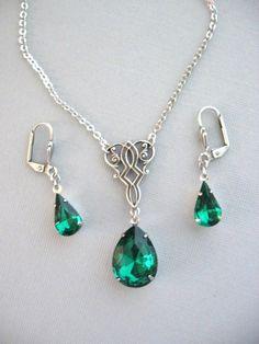 Celtic Knot Necklace, Emerald Rhinestone Necklace, Antique Necklace, Necklace Set, Wedding Jewelry, Holiday Necklace, Irish Jewelry