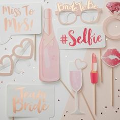 Pink and Rose Gold Hen Party Photo Props, Team Bride Photo Props, Bridal Shower Photo Props, Hen Party Props, Bachelorette Party Photo Props Classy Hen Party, Accessoires Photobooth, Photos Booth, Picture Booth, Bridal Shower Photos, Bridal Showers, Baby Showers, Hen Party Accessories, Wedding Accessories