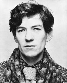 (golly - such cheekbones!) Ian McKellen, 1976, photographer Nobby Clark. See http://www.mckellen.com/galleries/12.htm