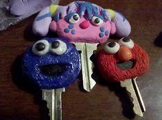 decorated keys - polymer clay?