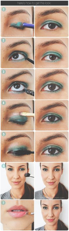 Teal Eyeshadow Tutorial. Love teal for spring & summer! [from the beauty department]