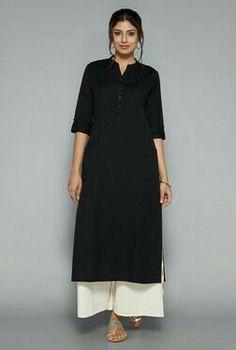 Utsa by Westside Black Solid Kurta Pakistani Dresses, Indian Dresses, Indian Outfits, Indian Fashion, Boho Fashion, Fashion Dresses, Kurta Designs Women, Blouse Designs, Indian Attire