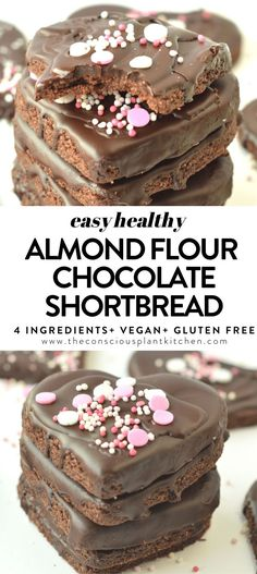 These vegan chocolate shortbread cookies are healthy, easy, gluten-free chocolate cookies made with only 4 ingredients and in less than 20 minutes. Gluten Free Chocolate Cookies, Chocolate Shortbread Cookies, Gluten Free Sweets, Paleo Sweets, Gluten Free Baking, Vegan Baking, Vegan Chocolate, Healthy Baking, Healthy Chocolate Desserts