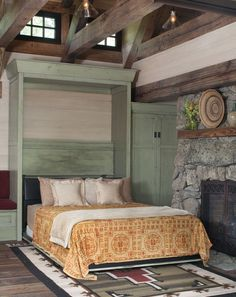 Murphy Bed In Stone Cottage - rustic - bedroom - denver - TKP Architects pc Cottage Style Decor, Rustic Cottage, Cottage Design, Maximize Small Space, Small Spaces, Camas Murphy, Mountain Cottage, Mountain Living, Small Room Design