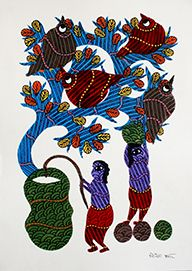Two human fetching water from well, Acrylic colors on paper, Size- 36.2 X 25.5Cms.  (14.252X10.039 inch), Artist – Lilesh Kumar Ureti, Year of execution-2015