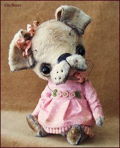 Алла Bears оригинальный художник Винтаж Щенок собаки Античная дизайнер игрушка кукла подарок искусство ребенка розовая девушка платье японский аниме домашнего декора человек пещере