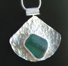 Teal Green Sea Glass Rim Necklace on Hammered Sterling Silver - West Coast Sea Glass