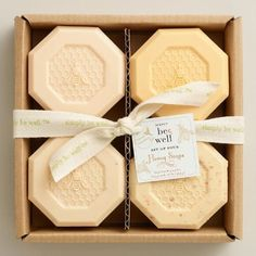 Made with all-natural ingredients, the fragrance of honey infused with aloe, oatmeal and almond lends to the luxurious experience of this soap set. >> #WorldMarket Mother's Day