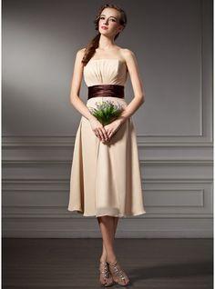 Empire Strapless Knee-Length Chiffon Bridesmaid Dress With Ruffle Sash