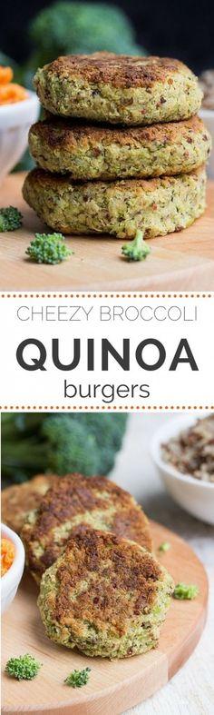 Vegan Broccoli Quinoa Burgers with the taste of cheesy goodness!