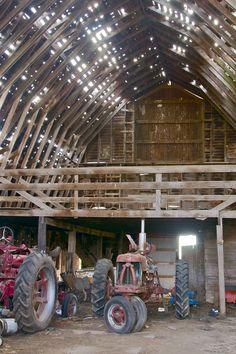 Light seaping in through the roof of this old barn...