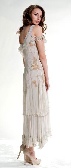 vintage style dress in beige #wardrobeshop