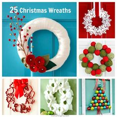 25 DIY Christmas Wreaths {Holiday Decor}...the perfect handmade holiday project!  #Christmas #Holiday #diy