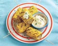 Mini Corn on the Cob with Dipping Sauce Recipe - Fresh and flavorful sauces lend a delicious addition to grilled corn. #Schwans #EasyRecipes #Inspiration