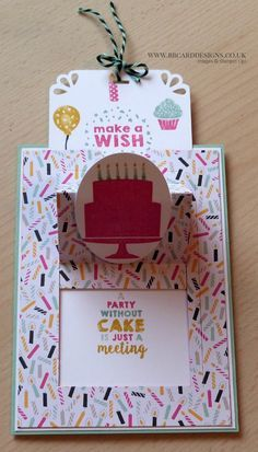 Love this slider card from Stampin Up using Party Wishes and Its My Party DSP Fun Fold Cards, Pop Up Cards, Folded Cards, Cool Cards, Handmade Birthday Cards, Happy Birthday Cards, Greeting Cards Handmade, Birthday Cake Card, Slider Cards
