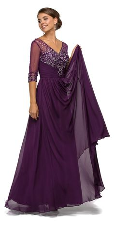 Dancing Queen - Glittering Jewel Embellished Sleeve V-neck Chiffon A-line Dress 8855 - ShopStyle Evening Mother Of The Bride Dresses Long, Mothers Dresses, Bride Groom Dress, Bride Gowns, Plus Size Evening Gown, Evening Dresses, Long Formal Gowns, Formal Dresses, Plum Dresses