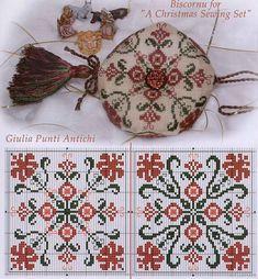 A cross-stitch ornament Biscornu Cross Stitch, Cross Stitch Pillow, Cross Stitch Charts, Cross Stitch Designs, Cross Stitch Patterns, Blackwork Embroidery, Cross Stitch Embroidery, Embroidery Patterns, Hand Embroidery