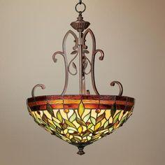 """Robert Louis Tiffany 18"""" Wide Two Light Pendant Chandelier - $200"""