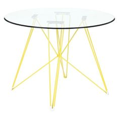 Replica Charles & Ray Eames  Replica Eames Eiffel DSR Round Glass Dining Table