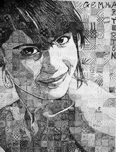 Artsonia Art Museum :: value grid portrait Artwork by Diana938