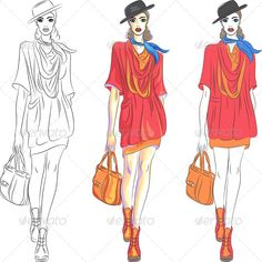 Fashion Girl Top Model in Hat  #GraphicRiver         Set beautiful fashion girl top model in three versions: the first – a sketch, the second – simple colors, the third – with shades.  	         	 More pictures peoples for you:  	      Created: 16July13 GraphicsFilesIncluded: JPGImage #VectorEPS Layered: Yes MinimumAdobeCSVersion: CS Tags: attractive #bag #beautiful #boots #caucasian #cravat #cute #drawing #dress #elegant #fashion #girl #hat #illustration #people #pretty #scarf #set #short…