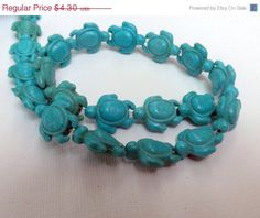 Turquoise  Turtles Beads    Magnesite With by LyrisBeadBoutique