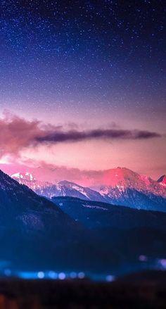ピンク色の山々 iPhone壁紙 Wallpaper Backgrounds iPhone6/6S and Plus
