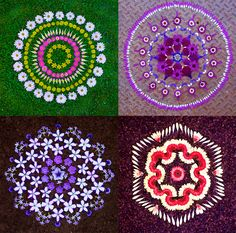 Using hundreds of flower petals acquired from wildflowers and other plants, artist Kathy Klein creates temporary mandala designs that are left to be discovered by others. http://www.thisiscolossal.com/2014/02/new-flower-mandalas-by-kathy-klein/