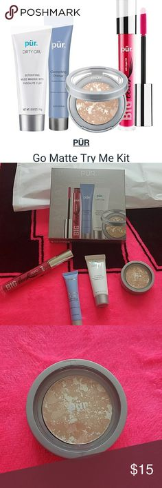 Pur Cosmetics Stay Matte Collection Brand New, took out of box for pics only  Full Size Big Look Mascara .3 oz Correcting Primer .5 oz Dirty Girl Detox Mudd Masque .10 oz Balancing Act Shine ControlPur Pur Makeup Face Powder