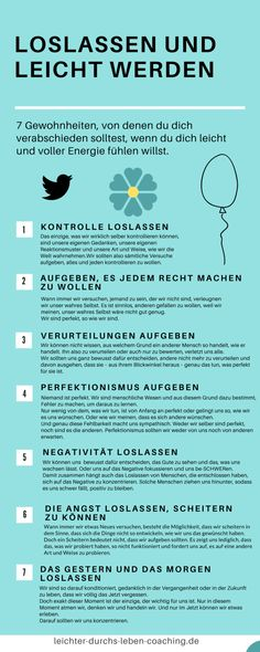 Giving up habits - Letting go and becoming light - This is how you succeed - Old habits burden our lives, change them - Infographic: You should say goodbye to these 7 habits - Selbstfürsorge + Self Care - Animals Good To Know, Feel Good, C'est Parti, Implant, Health Motivation, Self Development, Better Life, Happy Life, Letting Go