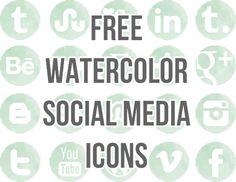 21 Free Watercolor Social Media Buttons via Shrimp Salad Circus