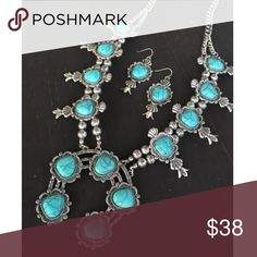 Silver & turquoise squash blossom necklace Brand new silver & turquoise squash blossom necklace & earring set. Tribal, Aztec, Navajo, antique, Boho, gypsy, hippie, southwest, southern, western, rodeo, cowgirl style. Jewelry Necklaces