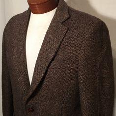 Vintage Genuine Harris Tweed Herringbone Sport Coat Blazer 40 R Regular Medium…