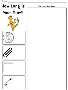 Colors and Kindergarten: The Foot Book Activity FREEBIE Best Picture For dr seuss crafts tshirt For Measurement Kindergarten, Measurement Activities, Math Measurement, Preschool Classroom, Teaching Math, In Kindergarten, Teaching Ideas, Dr. Seuss, Dr Seuss Week