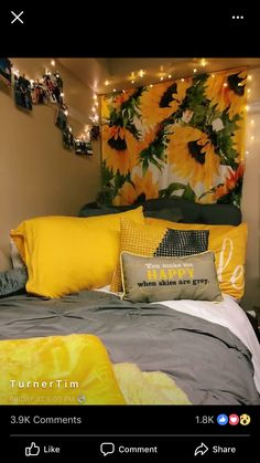 Having a unique dorm room is exciting and excellent.As we know, the dorm room is limited. Besides that, we also have to share with one room friends. Dream Rooms, Dream Bedroom, Sunflower Room, Sunflower Design, Sunflower Bathroom, Sunflower Flower, Sunflower Print, Yellow Sunflower, Cute Room Decor