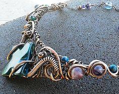 Unique handmade wire wrapped copper necklace