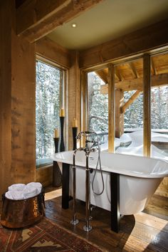 This modern-rustic mountain home was designed by Locati Architects in conjunction with interior design firm Harker Design on the slopes at the Yellowstone Club in Big Sky, Montana. 29 Stunning Rustic Bathroom designs to build for your bathroom decor Rustic Master Bathroom, Rustic Bathroom Designs, Rustic Bathrooms, Bathroom Ideas, Lodge Bathroom, Cozy Bathroom, Bathroom Interior, Bathroom Inspiration, Modern Bathroom