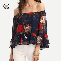 Cheap women blouse 2016, Buy Quality blouse 2016 directly from China women blouses Suppliers: Lace Girl Ladies Chiffon Print Sexy Off Shoulder Blouse Plus Size Casual Blusas Femininas Slash Neck Shirt Women Blouse 2017 New